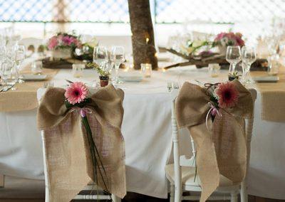 salle pour le repas de mariage